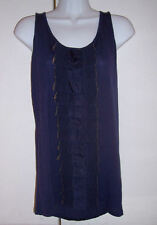 NWT Ted Baker Navy Blue Longer Tunic Tank Top Silk Ruffles Sz 10 or L (Ted Sz 4)