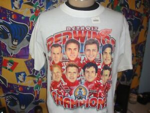 Vintage Detroit Red Wings 2002 Stanley Cup Champions Caricature T Shirt L