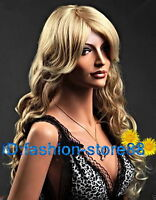 Women's Long Mix blonde Curly Hair Full Wig Party fancy dress Ladies Cosplay