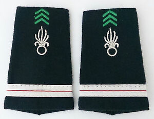 Fourreaux d'épaules Grades Galons pour ADJUDANT-CHEF du Cavalerie 1°REC Légion