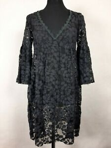 Rebecca Taylor Womens Size 2 Dress Black Sheer Lace 3/4 Bell Flare Sleeve V-Neck