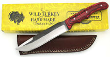 Wild Turkey Handmade Full Tang Real File Hunting Knife w/ Leather Sheath