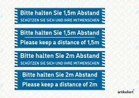 Bitte Abstand halten - Fußbodenaufkleber - versch. Versionen - R9 - Blau/Weiß