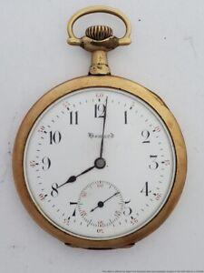 Large Red Minutes Track Genuine Vintage Howard Pocket Watch Seventeen Jewels