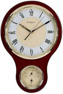 Classic Combo Clock and Barometer Thermometer Set mounted on Wooden Plinth