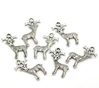 4x Cute small silver tone Rudolph reindeer Xmas charms with red nose 24mm x 21mm