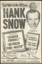 1953 Hank Snow photo RCA Victor Records BIG vintage print ad