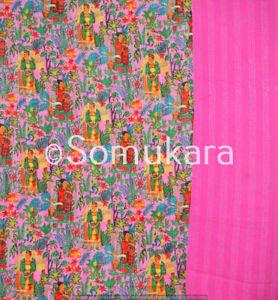 Indian Cotton Frida Kahlo Print Kantha Bedding Handmade Quilt Twin Blanket Throw