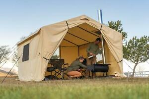 Outdoor Wall Tent With Stove Jack 12' x 10' Includes Removable PVC Floor Beige