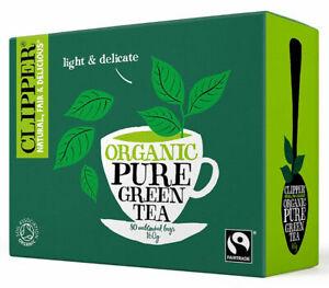 Clipper Organic Pure Green Tea Bulk lot of  6 Sealed Packs (aprox 80 per pack)