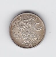 1938 NETHERLANDS EAST INDIES SILVER 1/4 GULDEN Coin S-584