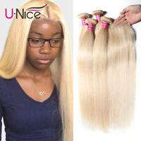 UNice 613 Blonde Bundles With Closure 8A Malaysian Straight Human Hair 3 Bundles