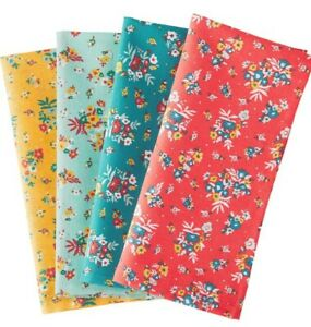 THE PIONEER WOMAN 4 PC ROSE DITSY CLOTH NAPKINS FLORAL MULTI  COLORED NEW