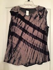 Rock & Republic Woman's Sheer Back Blouse - Black/Taupe - Size XL NWT