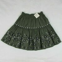 Kate Spade Broome Street Embroided Skirt Dark Green Floral Stitching $198 Retail