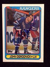 JOHN OGRODNICK  1990 1991 TOPPS Autographed Signed HOCKEY Card JSA 174 RANGERS