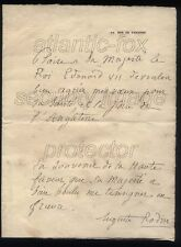 1909 A RARE letter Auguste Rodin, Sculptor, To King Edward VII & note from ER