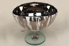 Klassische Schale, 25 X 20 cm, Innenverkleidung Platin, Fuß Chrom / Kristall