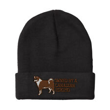 Beanies for Men Owned by A Canadian Eskimo Embroidery Dogs Acrylic Skull Cap