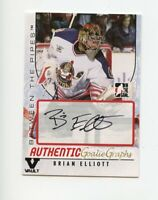 ITG FINAL VAULT 07-08 BETWEEN THE PIPES GOALIEGRAPH AUTO BRIAN ELLIOTT *67856