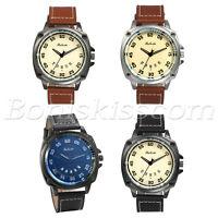 Men's Retro Causal Leather Strap Date Quartz Analog Round Wrist Watch Watches