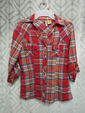Passport Top Size S Red Plaid Button Front Collar Long Sleeve Pockets Casual