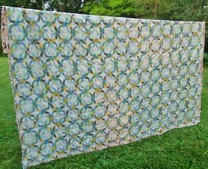 VTG Handmade Patchwork Calico Rings Quilt 82x68 minor repair Clean Soft Heavy