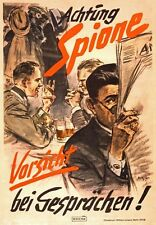 WB52 Vintage WW2 German Achtung Spione Careless Talk WWII War Poster A1/A2/A3/A4