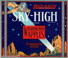 Wenatchee Washington State Sky-High Airplane Apple Fruit Crate Label Art Print