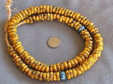 "25"" Str Antique Venetian Fancy African Trade Beads Glass Mustard Yellow Black"