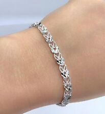 18k Solid White Gold Cute Diamond Cut Bracelet, 6.5 Inches, 6.48 grams