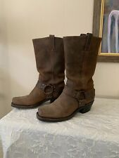 Frye Brown Leather Harness motorcyle boots 7. M..distressed