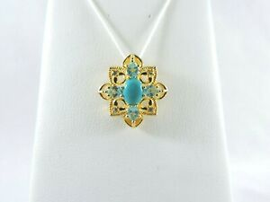 Gold Over .925 Sterling Silver Turquoise & Blue Topaz Pendant / Charm 2.8g