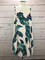 Old Navy Women's Dress Spaghetti Strap Pink Leaf Print Smocked Back Size XXL NWT