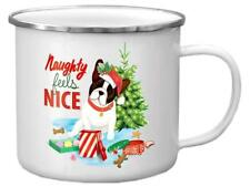 Punch Studio H8 Christmas Molly & Rex Enamel Stainless Rimmed Mug Naughty Dog