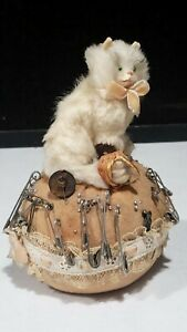 Vintage Artisan Fabric and Fur Cat Pin Cushion with Basket of Yarn Glass Eyes