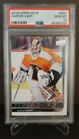 2018 UPPER DECK #491 CARTER HART YG RC UD YOUNG GUNS ROOKIE PSA 10 FLYERS
