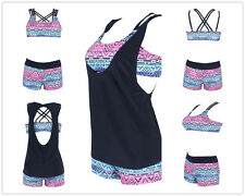 Womens Swimwear Push Up Tankini Swimsuit Coverup 3 Piece Boyshorts Beach Wear