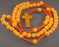 Rosary Necklace 9mm Rose Beads Macrame Accents Gold Trim Crucifix ORANGE Nice!