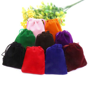 Soft Smooth  Velvet Drawstring Pouches Jewellery Wedding Pouch Bag 10 Colors