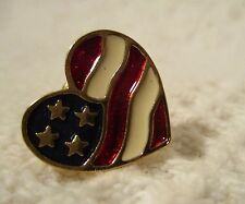 "July 4th 2001 Avon ""The Heart of America"" Patriotic Us Flag Gold Tone Lapel Tac"