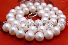 "SALE Big 12-13mm White High luster Natural freshwater Pearl 17"" necklace-ne5433"