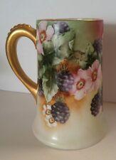 Vintage PL Limoges France Porcelain BERRIES FLOWERS Tankard Mug Artist Signed