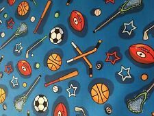 KIDS CHOICE - SPORTS EQUIPMENT ON BLUE BY SANTEE PRINTS - COTTON FABRIC - 1/2 YD