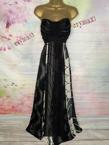 MONSOON FULL LENGTH BLACK/WHITE SILK MAXI GOWN DRESS SIZE 16