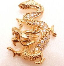 18K Gold Plated Simulated Diamond China Royal Dragon Charm Luck Pendant Necklace