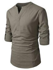 (NKN370) TheLees Mens Transform Roll-Up Sleeve Slit Henley Neck Linen Shirts