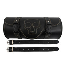 Motorcycle Skull ghost Tool Bag Saddlebag PU Leather Roll Storage Pouch Custom