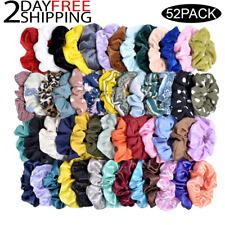 52 Pcs Colorful Velvet Hair Band Scrunchies Set, Elastic Bobble For Ponytail