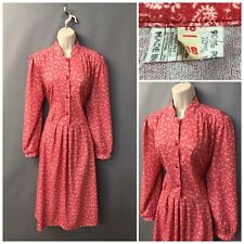 Vintage Red & White Mix Paisley Retro Dress UK 18 EUR 46 With Wool